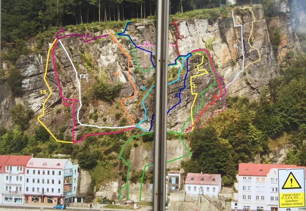 Karte mit Routen im Klettersteig Dezin in Tschechien - 7summits4help-Blog
