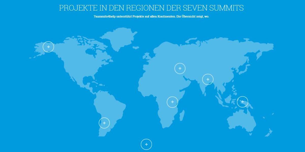 Karte mit den Seven Summits - 7summits4help