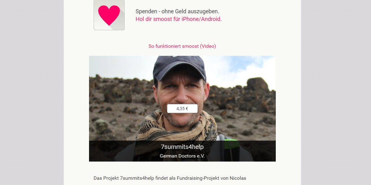 Mit der App Smoost für 7summits4help spenden - Blog