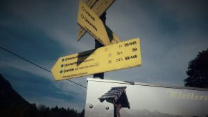 Die Richtung zum Training am Grünstein-Klettersteig 2016