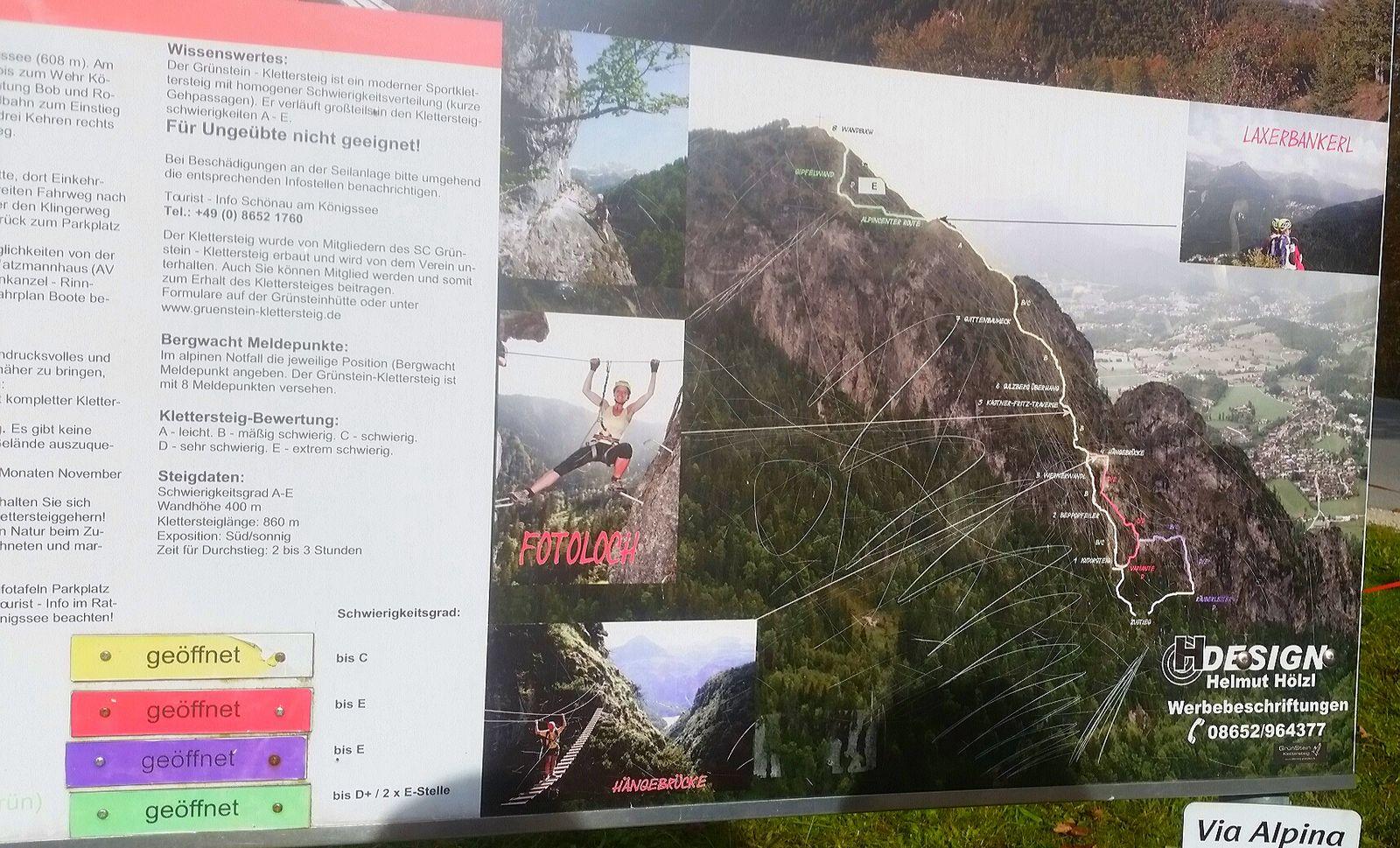 Übersicht zum Training am Grünstein-Klettersteig 2016