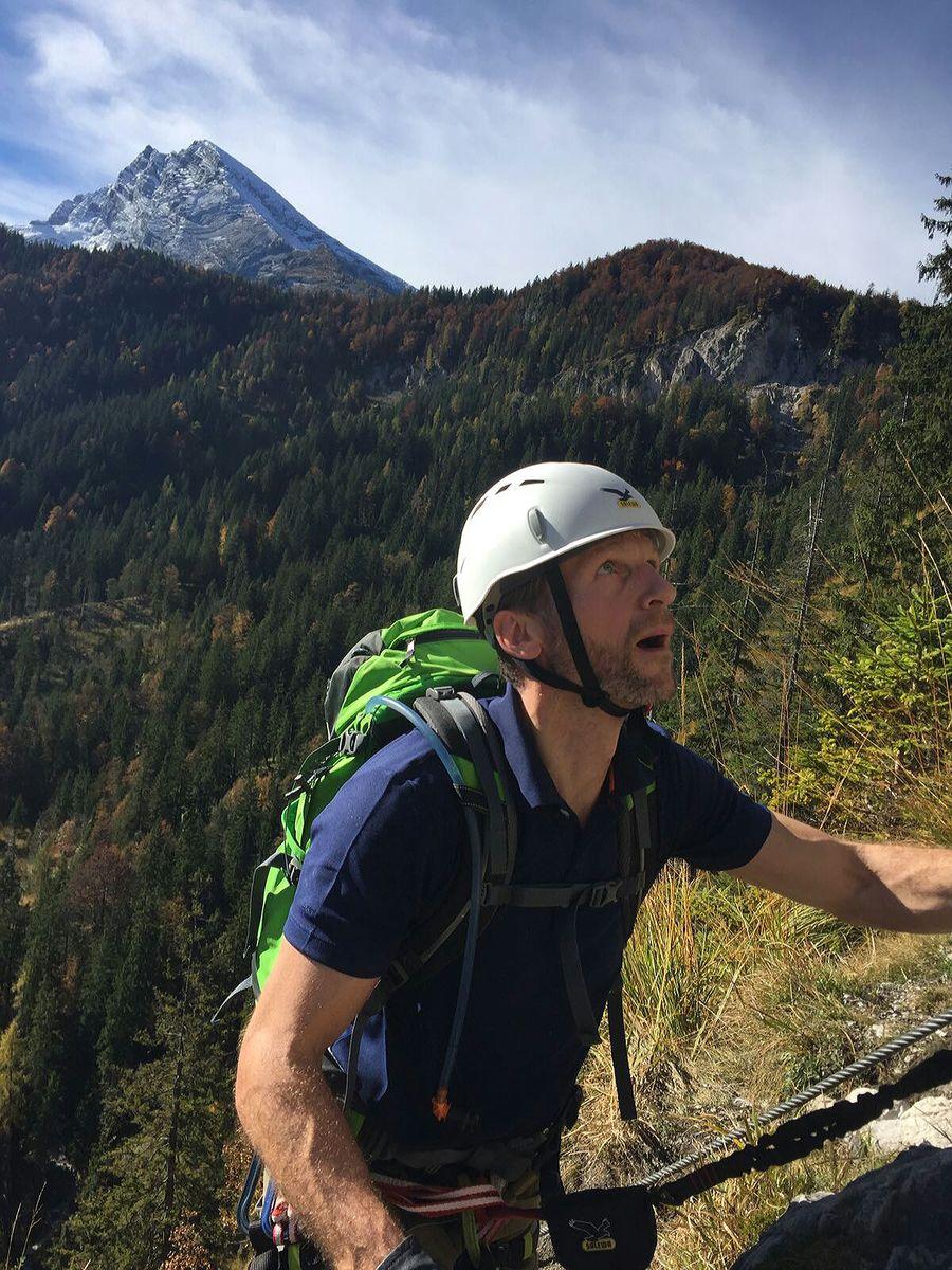 Nicolas im Tunnel beim Training am Grünstein-Klettersteig 2016