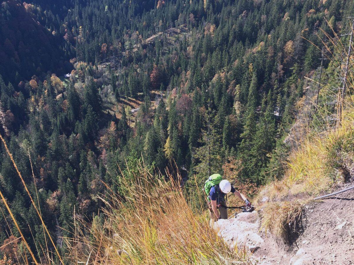 Nicolas in einer B-Passage beim Training am Grünstein-Klettersteig 2016
