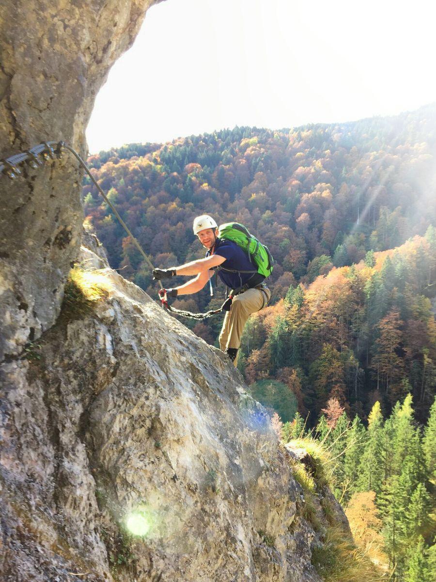 Nicolas in einer D-Passage beim Training am Grünstein-Klettersteig 2016