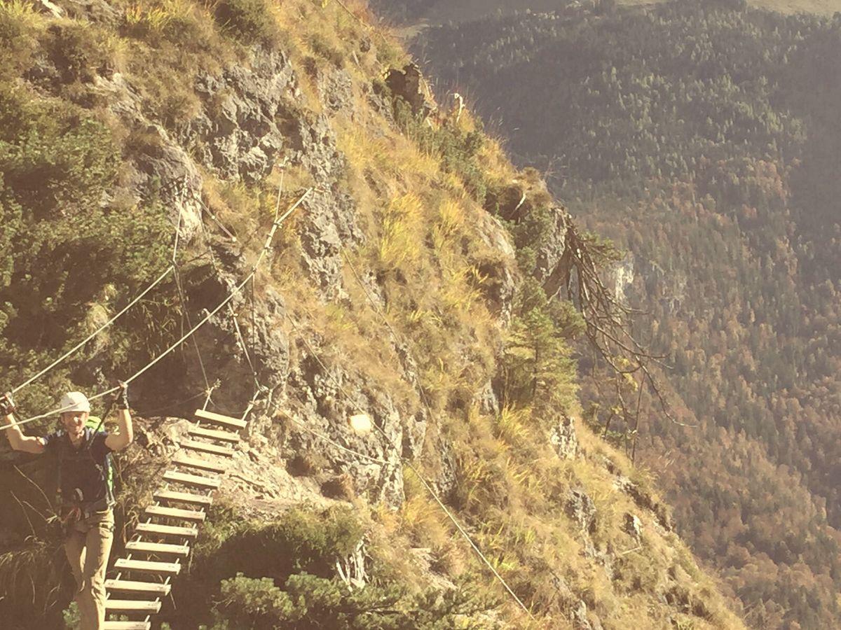 Auf der Hängebrücke beim Training am Grünstein-Klettersteig 2016