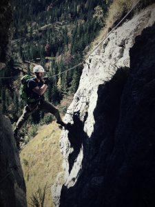 Nicolas im Fotoloch am Grünstein-Klettersteig 2016
