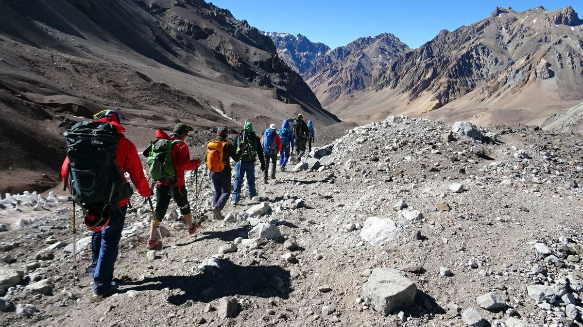 Felslandschaft von Plaza de Mulas nach Penitentes   Aconcagua 360 Grad 2016   7summits4help