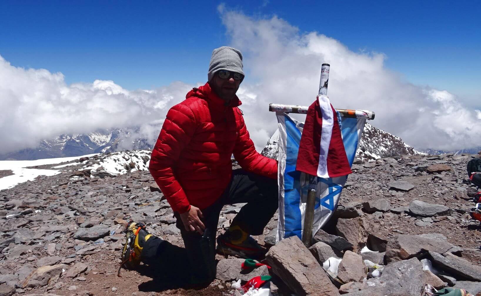 Nicolas auf dem Gipfel des Aconcagua