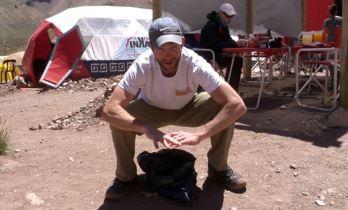 Die Bolsa negra im Einsatz - Hygiene am Aconcagua