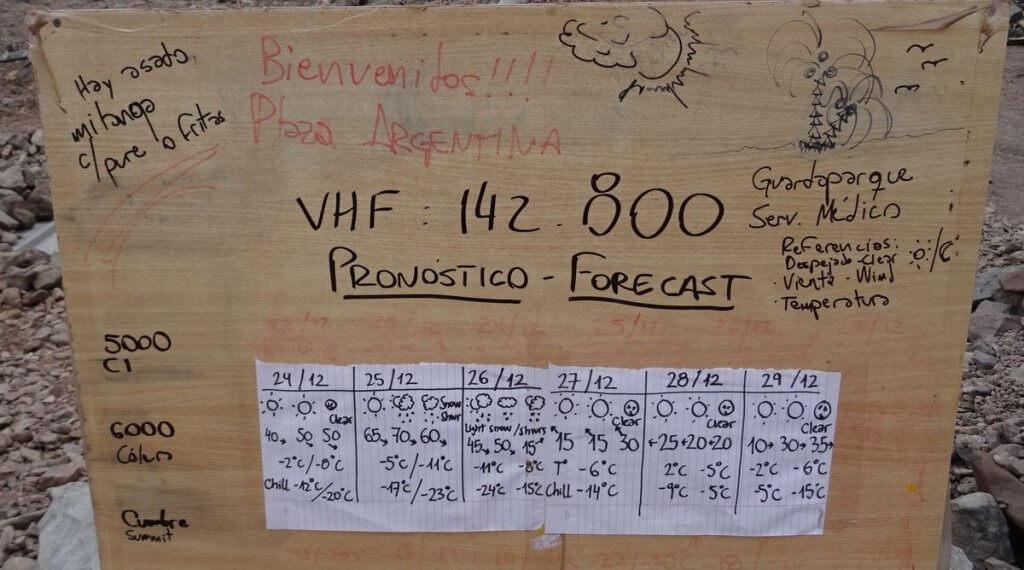 Wetterprognose im Basecamp Plaza Argentina - Aconcagua 2016 7summits4help