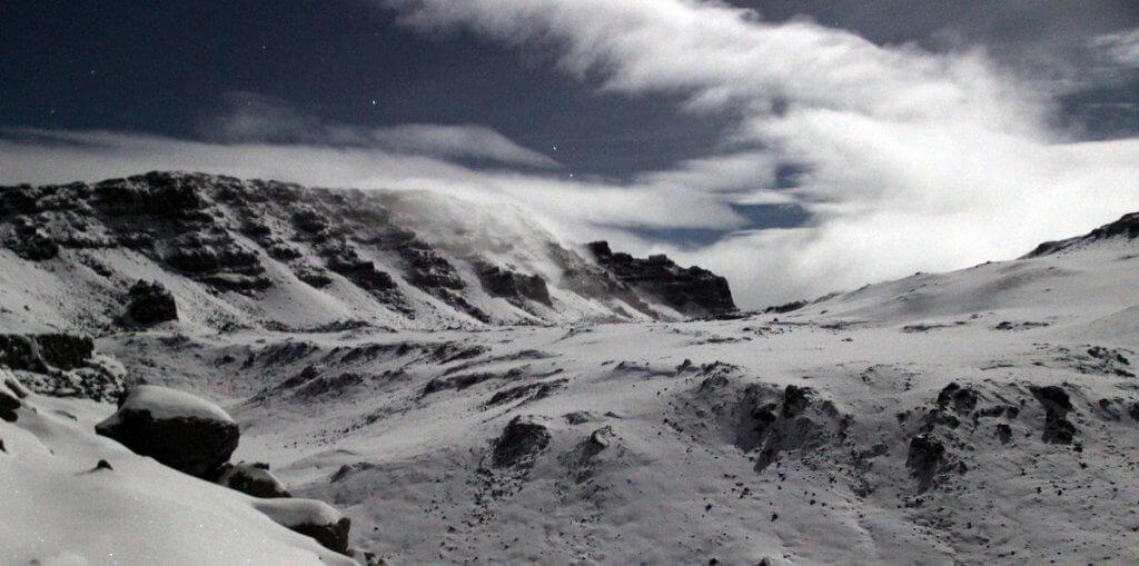 4:30 Uhr: Blick vom Gilmans Point auf den Uhuru Peak - 7summits4help auf der Uhuru Peak des Kilimanjaro