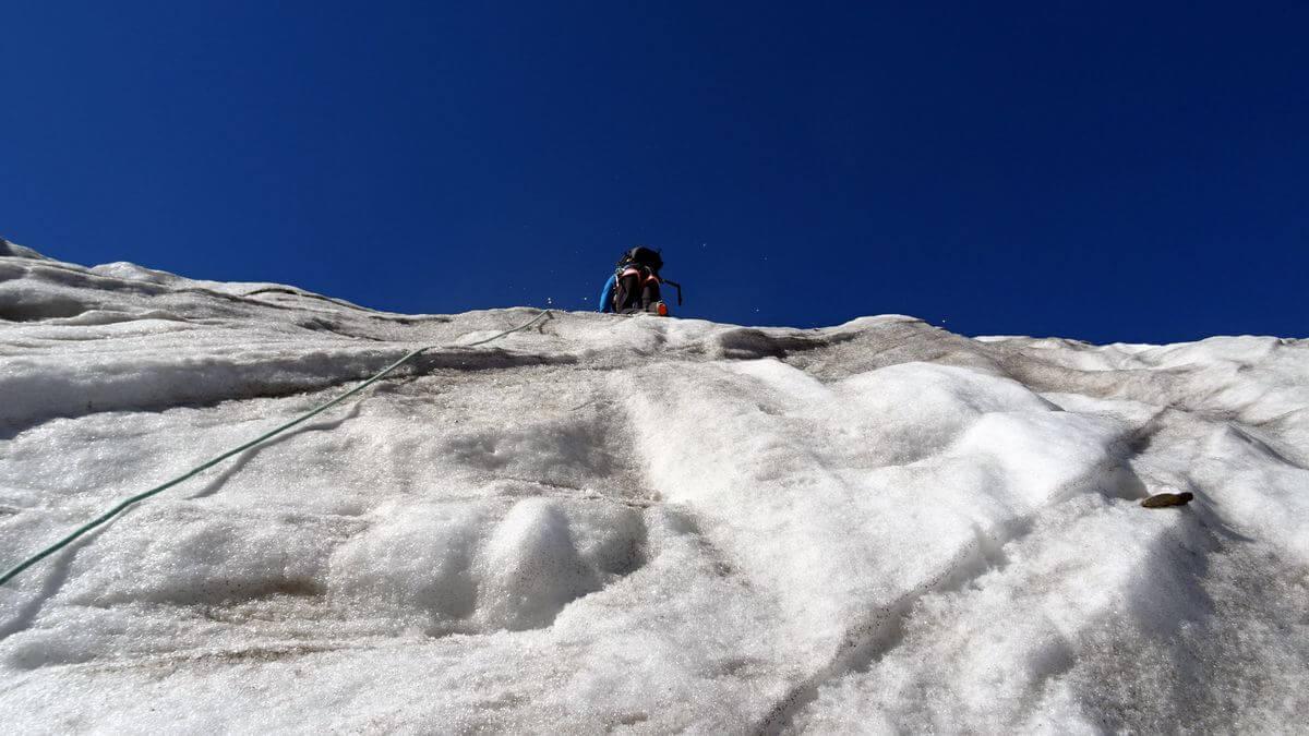 Monte Pasquale - 60 Grad Eisklettern - DAV Summit Club Hochtourenwoche Ortler