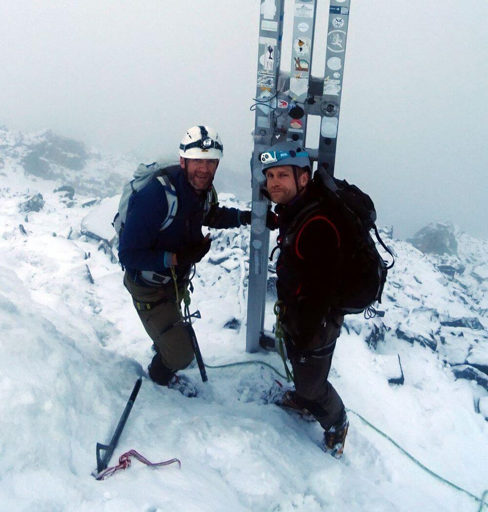 Toby und Nico am Gipfel der Königsspitze - Alpinschule Ortler mit Jacopo Compagnoni