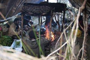 Ein Blick ins Zelt der Träger